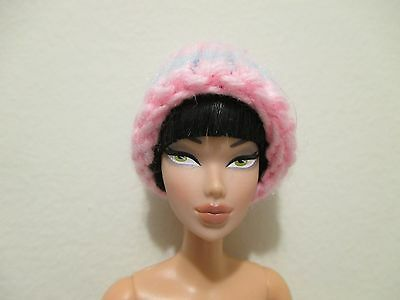 Barbie Doll Clothing hat accessory knit pink and blue winter hat vintage