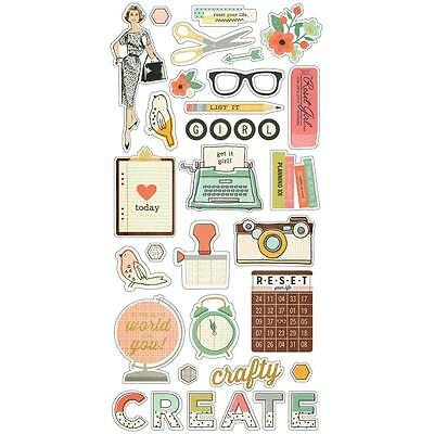 The Reset Girl Chipboard Stickers 6x12 Simple Stories w Gold Foiling