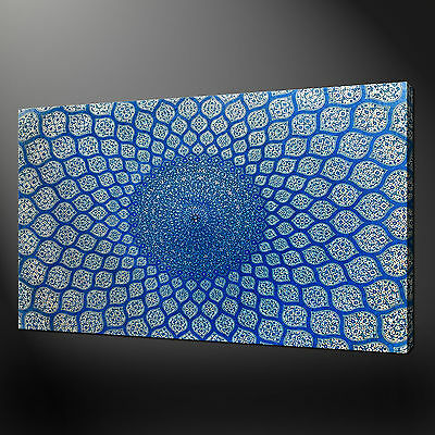 Blue Ceramic Plate Close Up Wall Art Canvas Print Picture Ready To Hang