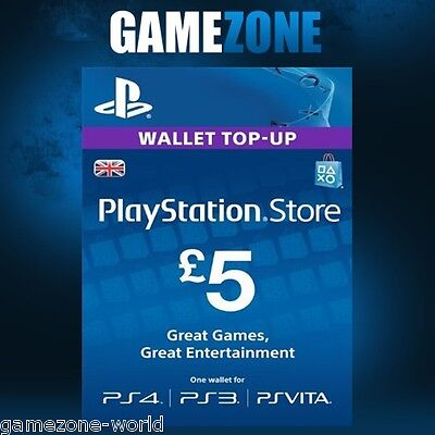 PlayStation Network £5 GBP - 5 Pounds PSN Store Card Key - PS4 PS3 PSP – UK