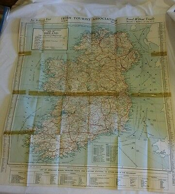 Vintage Map of Ireland - by Irish Tourist Association 1947 printed by Hely's LTD