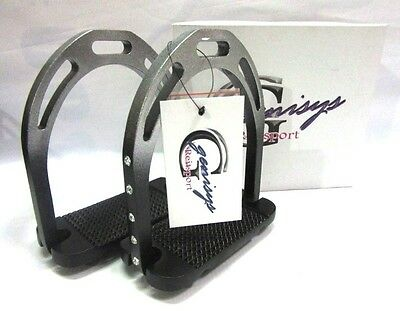 new! aluminum Alu jin stirrup Black Matte / Silver Rhinestone + REPLACEMENT