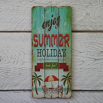 Retro Vintage Wooden Blue/Green Seaside Plaque Summer Holiday Beach Fun Sign