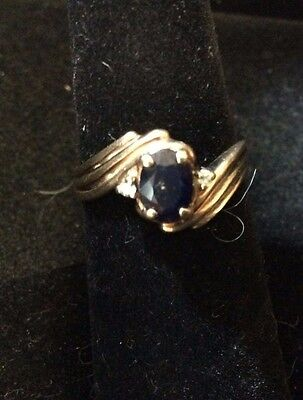 Vintage 10K Yellow Gold Sapphire Ring With Diamond Size 6