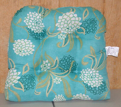 (1) Outdoor Patio Wicker Chair Cushion ~ Turquoise Floral ~ 21 x 21 x 3.5 *NEW*