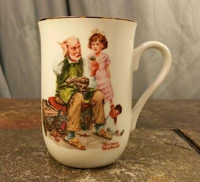 "Norman Rockwell ""The Cobbler"" 1982 Porcelain With Gold Trim Coffee Mug Tea Cup"