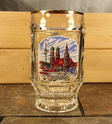 Munchen, Germany Cityscape Skyline 2.5L Gold Trim Dimpled Glass Beer Stein Mug