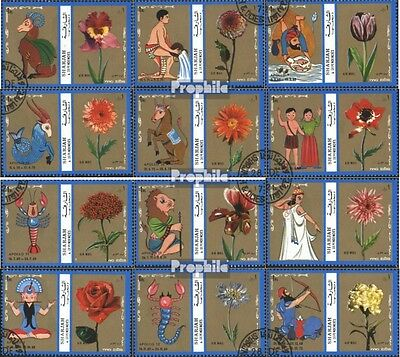 Sharjah 1320-1331 (complete issue) used 1972 Zodiac,Flowers,Spa