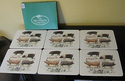 KELSEY of Stonehouse England Boxed Set 6  MELAMINE PLACEMATS - RARE BREED PIGS
