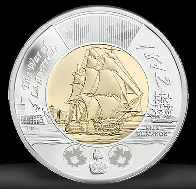 Canada 2012 Toonie War Of 1812 Mint Condition Sailing Ship HMS SHANNON