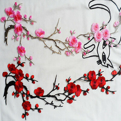 1x Embroidered Plum Blossom Flower Floral Patch Iron/Sew on Applique Motif Craft