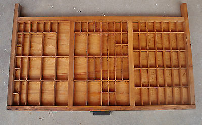 Antique Hamilton Mfg. Co. Printers Type-Set Wood Tray Drawer Shadow-Box