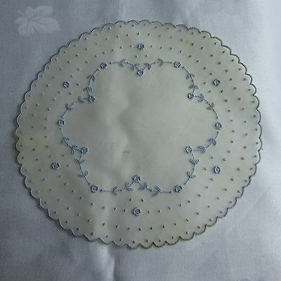 12 Vintage French Silk Organdy Embroidered Cocktail Rounds Coasters Doilies
