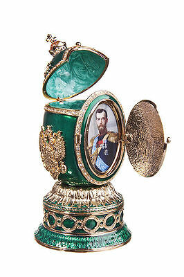 Faberge Egg Music Trinket Box St.Isaac Cathedral Russian Coat of Arm 5.5'' green