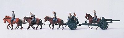 Preiser 16513 HO 1:87 Horse drawn field howitzer, KIT, unpainted - Brand New