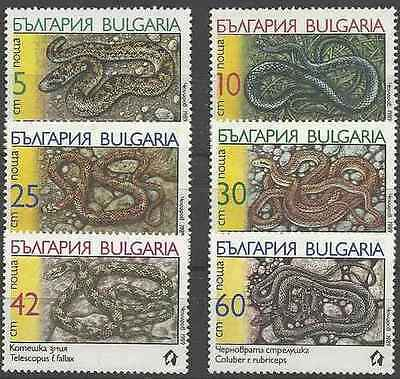 Timbres Reptiles Serpents Bulgarie 3268/73 ** lot 18185