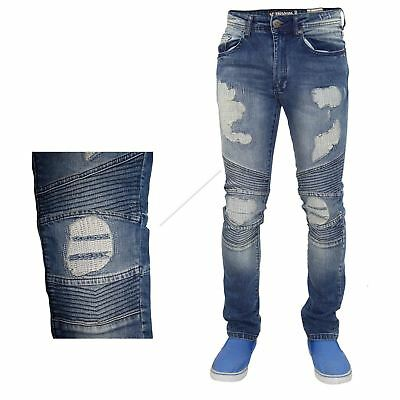 New Mens 7 Series Slim Fit Stretchable Cotton Ripped Biker Style Denim Jeans