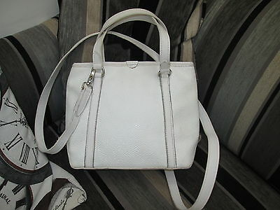 Authentic Mulberry White Scotchgrain & Leather Hand Grab Shoulder Bag