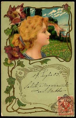 Vintage Art Nouveau Embossed UB PPC 1903 - The Girl Looking Out to Sea