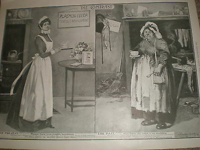 Plasmon Cocoa past and present servants Dudley Hardy art advert 1903 print ref X
