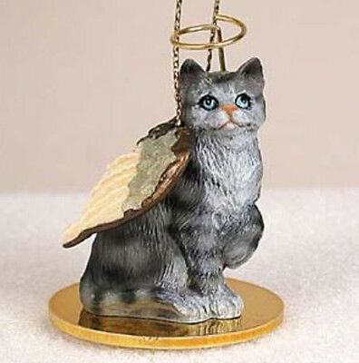 SHORTHAIR SILVER TABBY ANGEL CAT CHRISTMAS ORNAMENT HOLIDAY  Figurine Statue