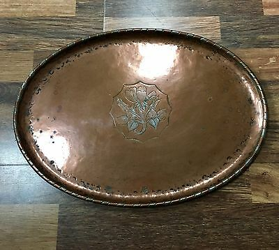 Hugh And Wallis Copper Hand Hammered Vintage Arts And Crafts Tray