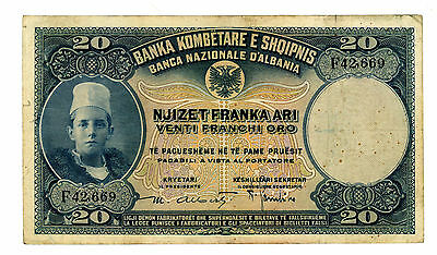 Albania … P-3 … 20 Franga … ND(1926) … *VF*