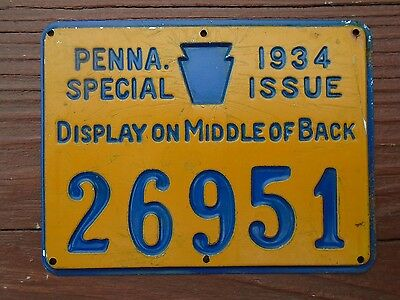Vintage 1934 PENNA. SPECIAL ISSUE Hunting License Metal PA Pennsylvania