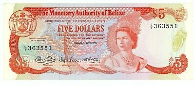 Belize … P-39a … 5 Dollars … 1980 … *UNC*