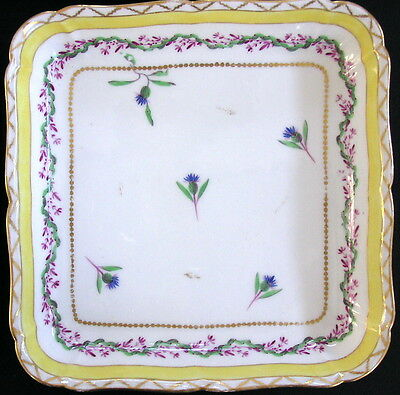 """4 English / Continental Porcelain 8"""" Square Bowls Sprig Cornflower Hand-Painted"""