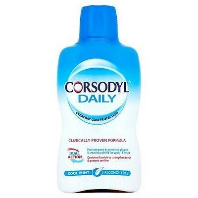 Corsodyl Mouthwash Cool Mint 500ml Daily Cool Mint Alcohol Free Dual Action
