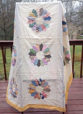 Vintage Antique Quilt Cover Top Coverlet Patchwork Handmade Great Colors