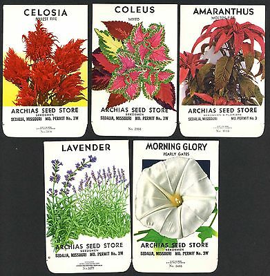 Set of 5 Different Vintage Seed Packets, Country Store, Sedalia, Missouri 166