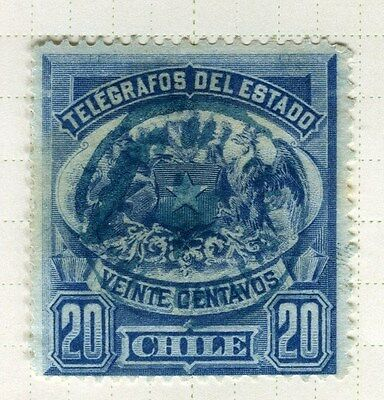 CHILE;  1890s early Telegrafos issue fine used 20c. value