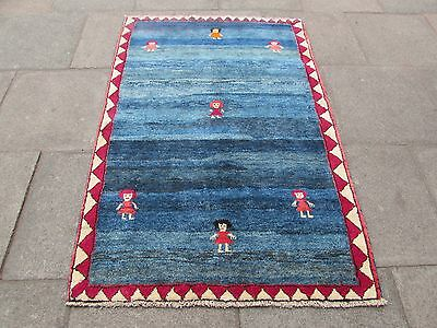 Old Traditional Hand Made Persian Oriental Gabbeh Rug Wool Blue 178x120cm