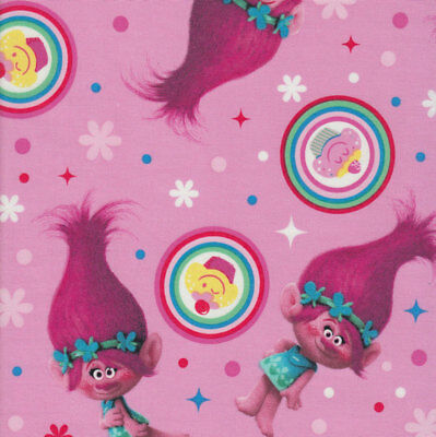 Trolls Princess Poppy on Pink Cupcakes Girls Licensed Quilt Fabric *New*