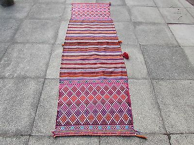 Old Hand Made Persian Oriental wool Red Pink Colourful kilim Runner 244x71cm