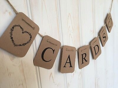CARDS BUNTING SIGN Banner Flags Kraft Card FOR wedding POST BOX Heart Decoration