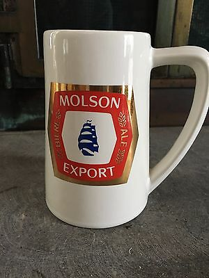 Molson Canadian White Gold Red Blue Beer Mug Canada