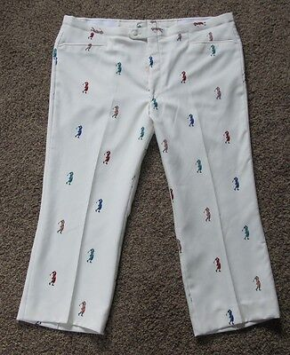 Vintage Sansabelt 70's Mens Ivory Hipster Flat FrontGolf Pants Knickers Golfbags