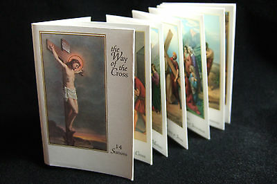 Foldout Catholic Holy Cards 14 Stations of the Cross pictures Way of Cross