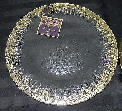 Artistic Accents Handmade in Turkey Lot of 2 Golden Rimmed Serving Platters NEW
