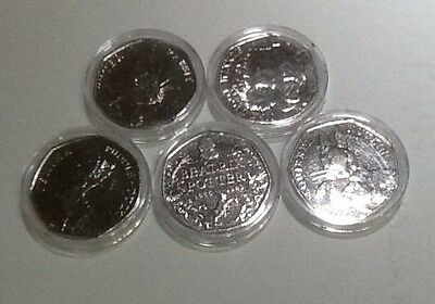 5 X 50p Beatrix potter Coins Full Set. Peter Rabbit Jemima Puddle duck Squirrel