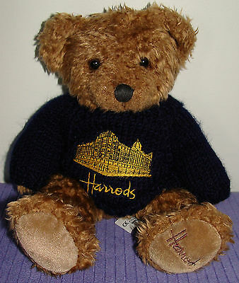 "Harrods Bear With Knitted Sweater Rare Handmade Bear  12"" Tall ~ F"