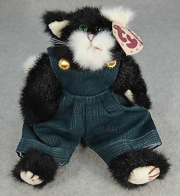 MWMT TY Purrcy Black & White Cat Green Overalls w/Buttons Attic Treasures #6022