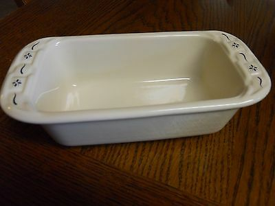 Longaberger Pottery Woven Traditions Mini Loaf Dish Blue