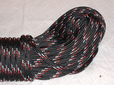 "Double Braid Polyester 3/8""x 50 feet yacht braid halyard line black red white"