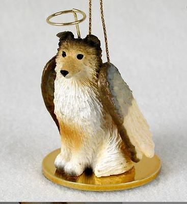 SHELTIE ANGEL DOG CHRISTMAS ORNAMENT HOLIDAY Figurine Statue Sable Shetland