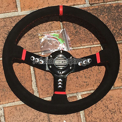 Sparco Steering Wheel Sports Racing 340mm Deep Dish Suede w/ Horn Universal Fit