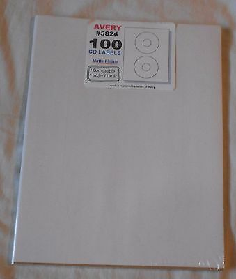 One  Package of Avery White CD Labels #5824 100 Labels Matte Finish Inkjet/Laser